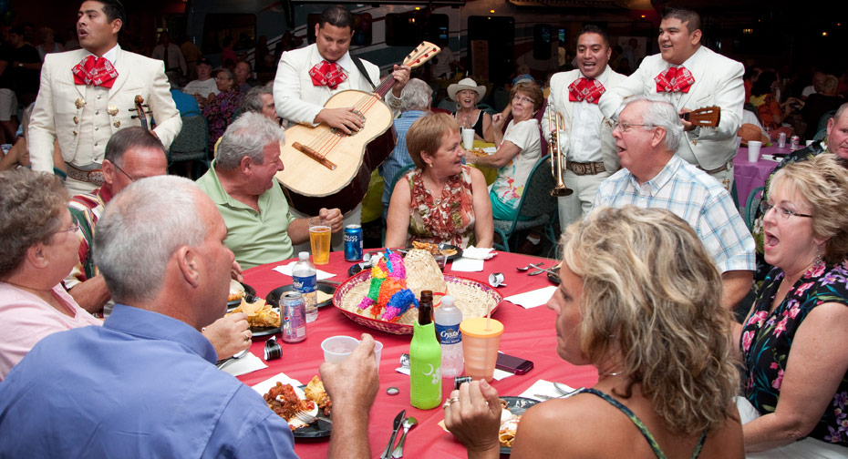 The mariachi band serenades RV rally goers during a Mexican-style Lazydays Tampa RV rally.