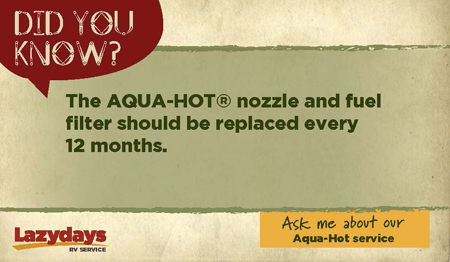 Replace the Aqua-Hot nozzle and fuel filter every 12 months.
