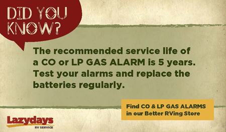 Pick up CO and LP gas alarms, along with any other RV parts and accessories you may want.