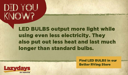 Visit the Lazydays Store for LED bulbs and other RV parts and accessories.