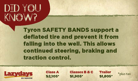 Let the expert RV service technicians at Lazydays put Tyron Safety Bands on your RV.