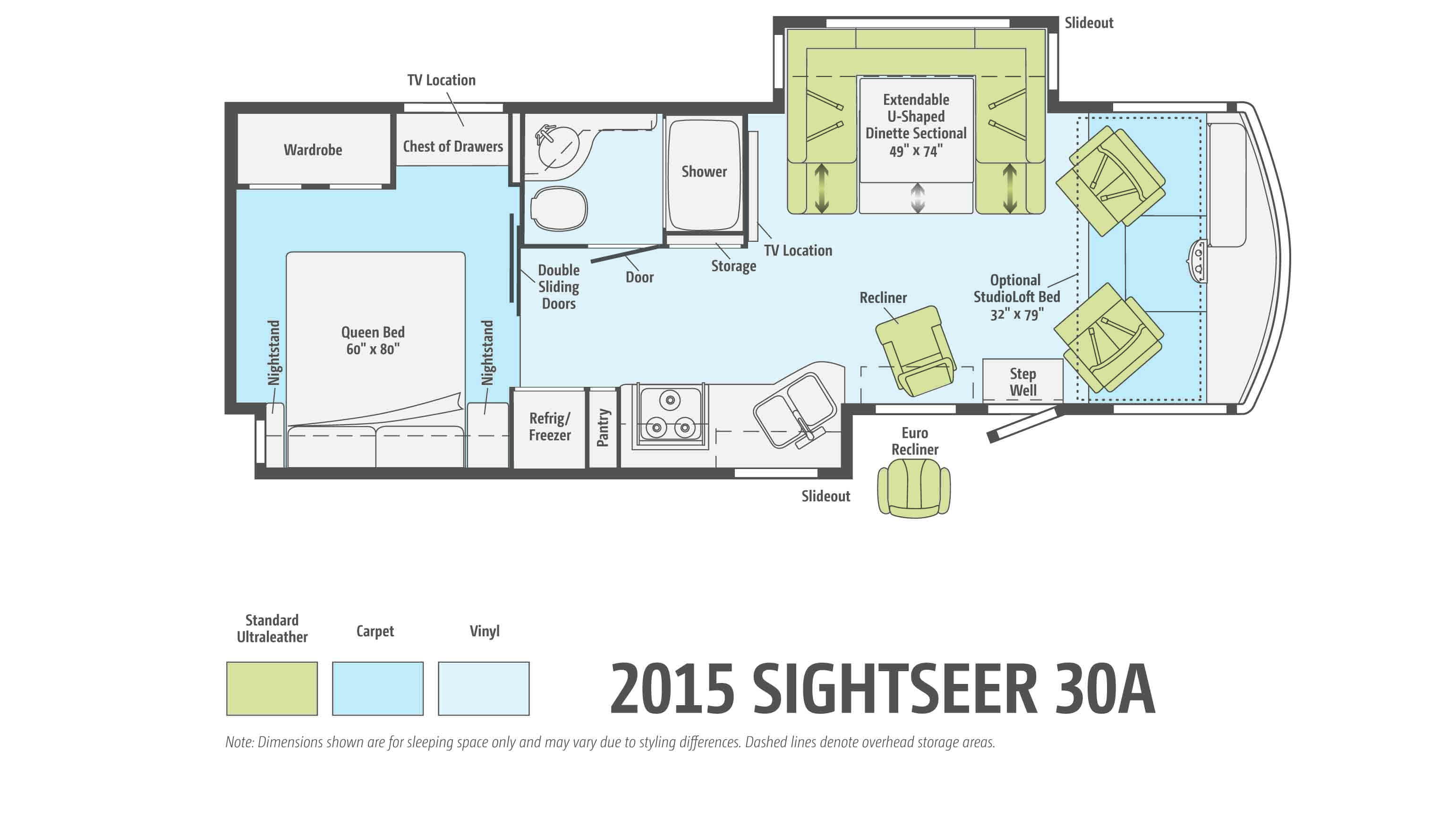 The Winnebago Sightseer floorplan 30A offers innovative features in a compact size.