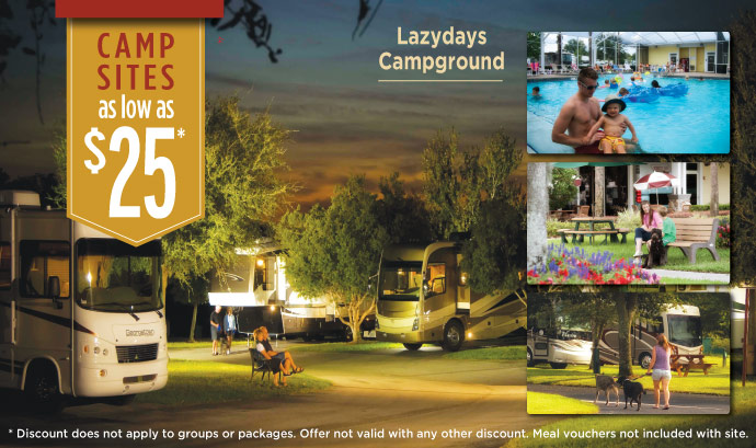 Campsites as low as $25 at Lazydays RV Campground in Tampa.