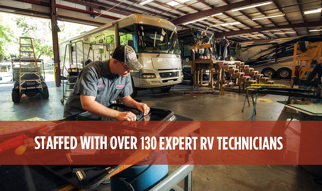 With numerous service bays, a passionate team of RVIA/RVDA certified and master certified technicians, and a multi-million dollar RV parts inventory, Lazydays RV Service is the miles-ahead leader for RV repair.