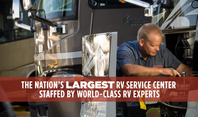 Whether you need RV repair, routine maintenance or RV parts, the Lazydays RV Service team is ready to assist.
