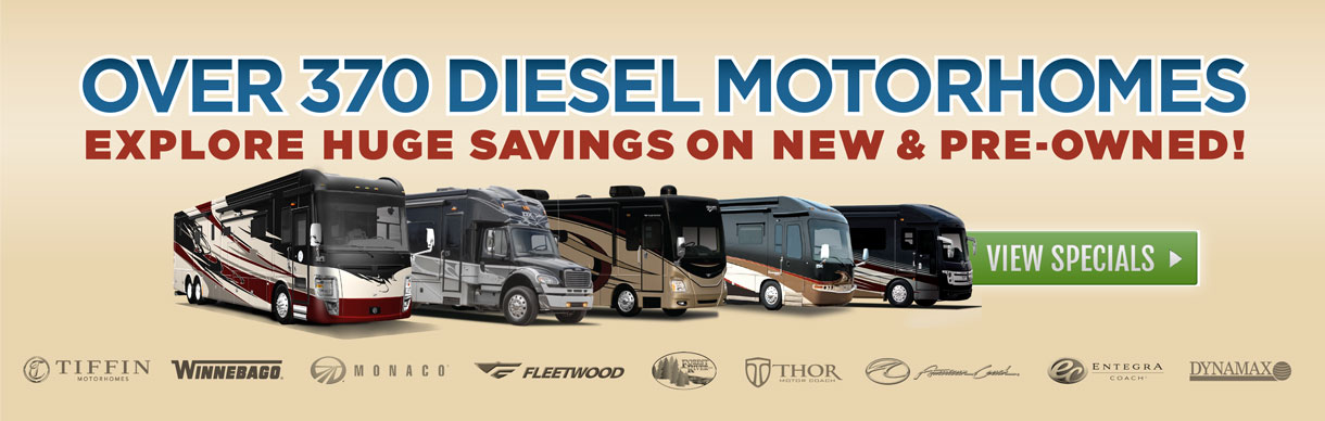 Huge savings on new and pre-owned Class A diesel motorhomes at Lazydays, The RV Authority.