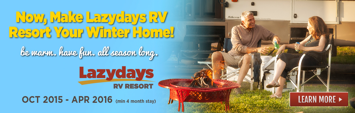 The Lazydays RV Resort special offer for seasonal campers.