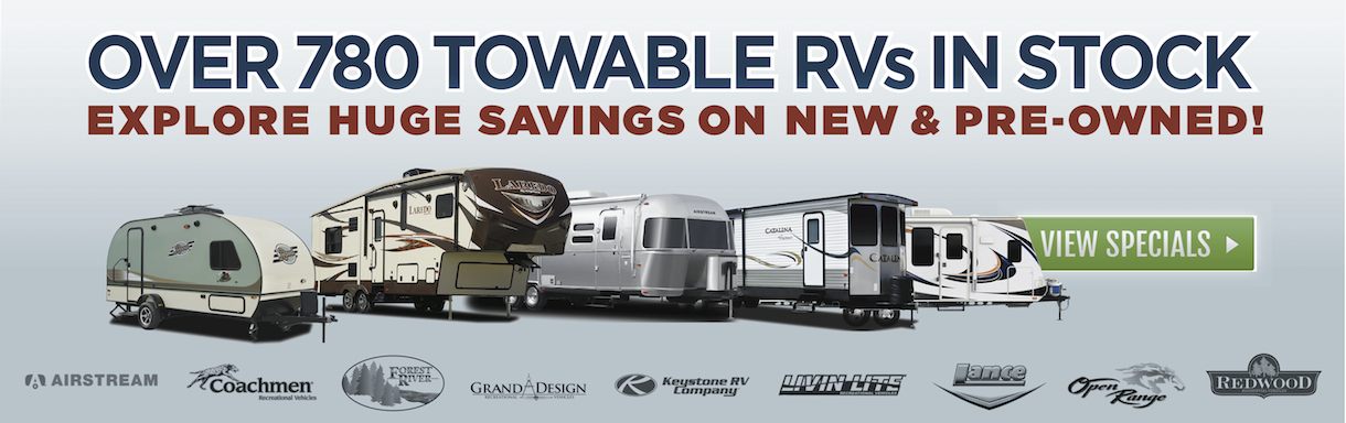 Visit Lazydays for huge savings on new and pre-owned towable RVs, including fifth wheels, travel trailers, toy haulers and pop-up campers.