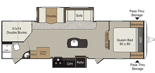 This is rendering of the 2016 Keystone Passport Elite 29BH floorplan