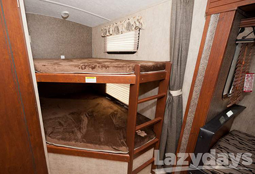 This is a photo of the bunkbeds inside the 2016 Keystone RV Passport Elite