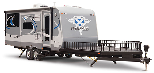 This is a photo of the 2016 Open Range Highlander with an open deck for front-end loading.