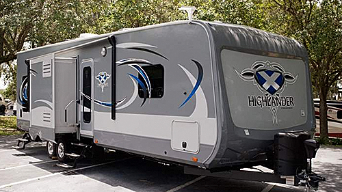 This is a photo of the 2016 Highlander Toy Hauler Travel Trailer exterior.