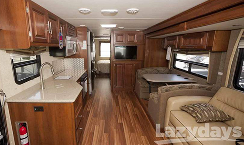 This is a photo showing the interior of the 2015 Forest River Georgetown motorhome.
