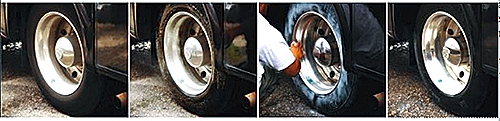 Cleaning your motorhome or RV tires will help prolong the life of the tires.