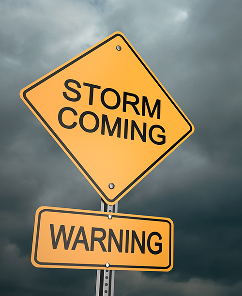 Many cities place storm warning traffic signs to help you prepare a plan and evacuate your RV or motorhome, if you are in the path of the storm.