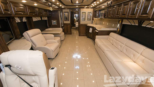 The interior of a 2016 Tiffin Motorhomes Phaeton features spacious floorplans with