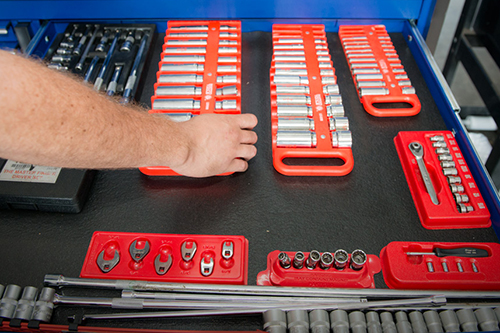 A wrench socket set featuring various sizes will help to keep up with preventative maintenance and small repairs on your motorhome.