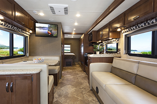 The living space inside the Class A diesel motorhome is phenomenal.