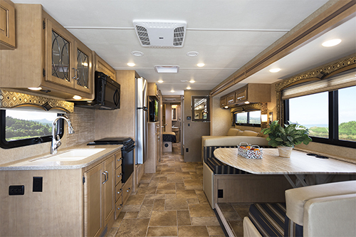 The Class A Diesel Hurricane provides great kitchen and dining space.