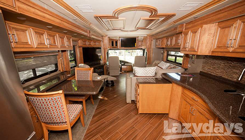 The interior of the 2016 American Coach American allegiance diesel motorhome is eye-catching.