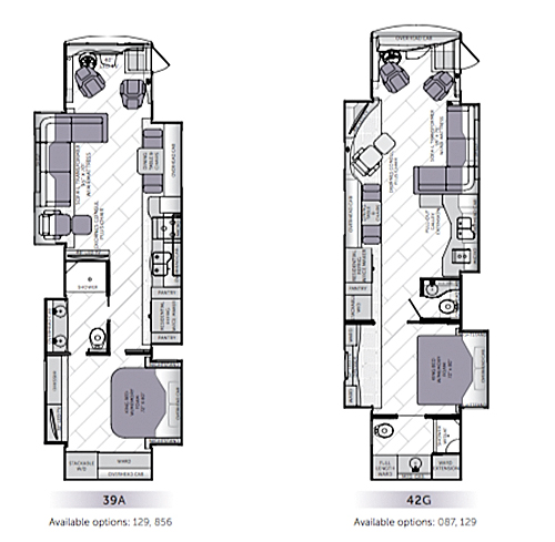 There are two floorplans for the 2016 diesel American Allegiance motorhome.