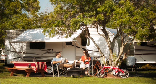 Camping along the beach while working from the office of your RV or luxury motorhome is an RVers' dream.