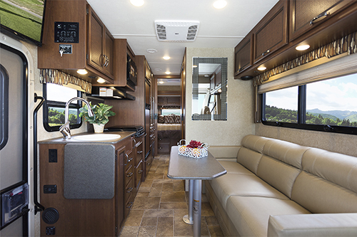 The Class A Thor Axis motorhome has a fully-functional living environment.