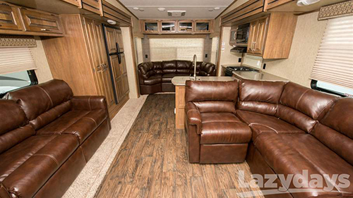 The Keystone Laredo Life-sized Fifth Wheel provides lots of room for passengers to unwind.
