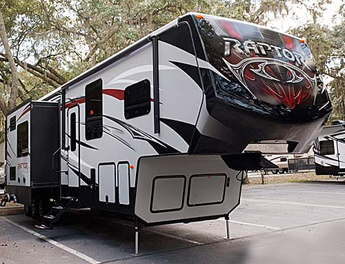 The exterior colors are available in three HD colors on the 2016 Keystone RV Raptor Toy Hauler.