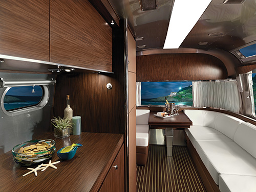 A luxurious and sleek interior makes travelling in the 2016 Airstream Land Yacht lots of fun.