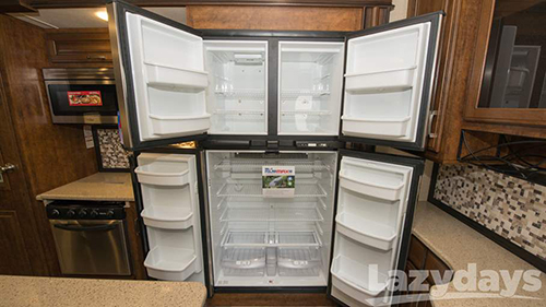 A residential-style refrigerator is one of many things that makes the 2015 Grand Design Fight Wheel feel like home away from home.
