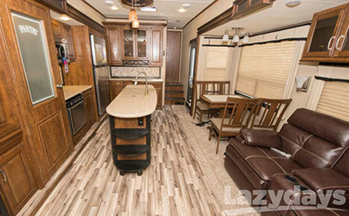 Lots of top-end amenities can be found inside the 2015 Grand Design Solitude fifth wheel.