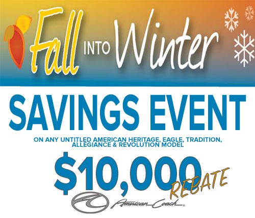 This rebate offer is good through December 31, 2015 on new American Coach models, including American Heritage, American Eagle, American Tradition, American Allegiance, American Revolution RVs available at Lazydays.