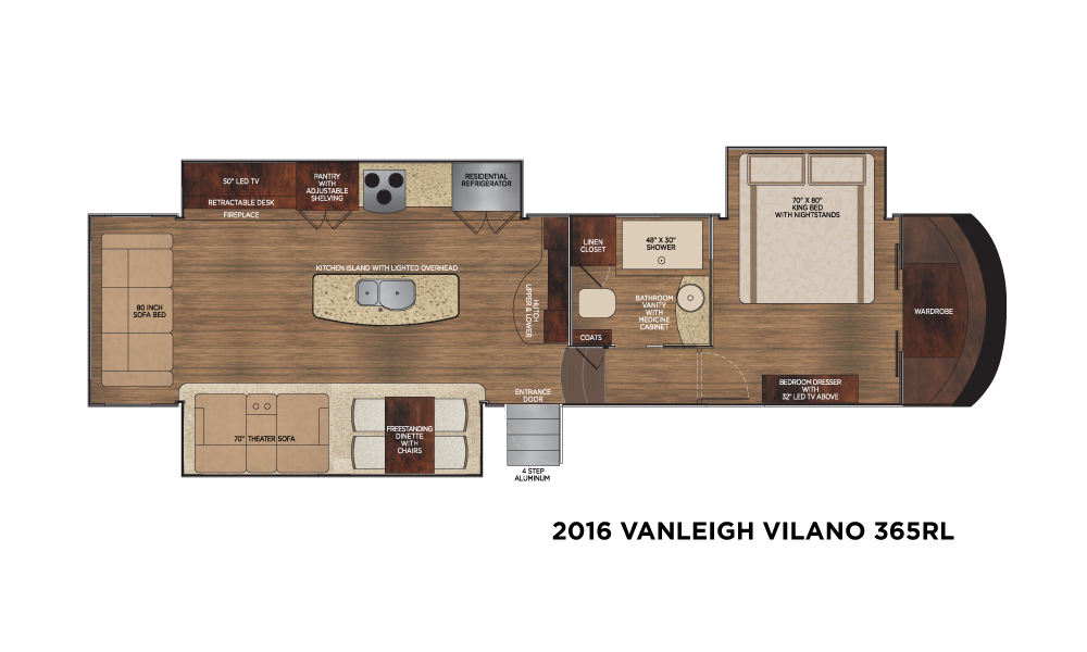 Optional equipment can be purchased for both inside and out on the 2016 Vanleigh Vilano fifth wheel.