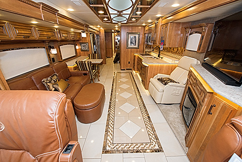 Opulence and power combine in the 2016 Entegra Cornerstone luxury motorcoach to give adventurers the ride of a lifetime to their destinations.