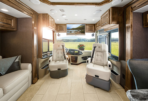 Polished elegance is displayed throughout the entire 2016 Tiffin Class A diesel Phaeton luxury motorhome.