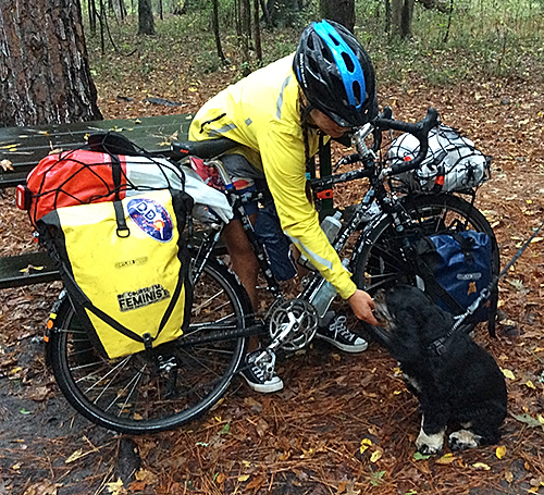 Amy giver is a cyclist who rode across country to bring awareness to blood marrow donors. We met her while camping in our luxury motorhome.
