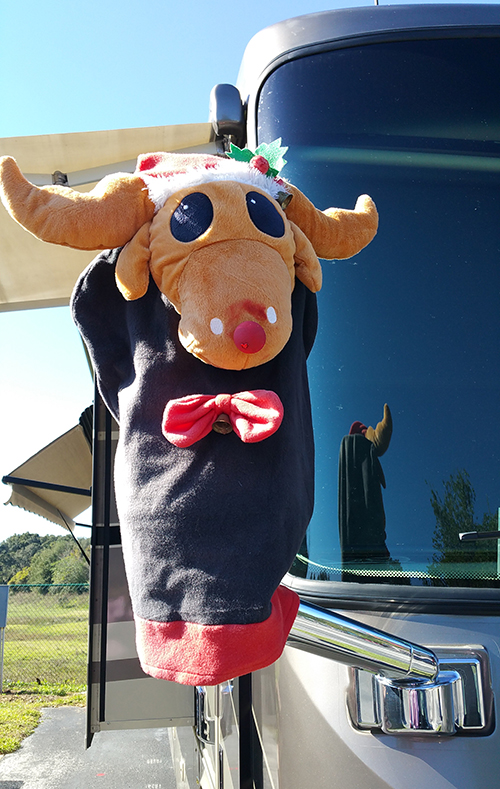 Once you reach your destination, reindeer faces mounted on the rear-view mirrors makes for an attractive accent to your luxury motorhome.