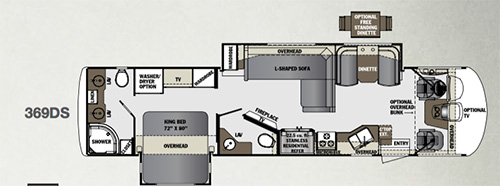 The 369 floorplan on the 2016 Forest River Georgetown has all the amenities necessary for a great camping experience.
