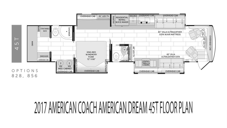 American coach rvs motorhomes for sale lazydays rv for Coach house floor plans