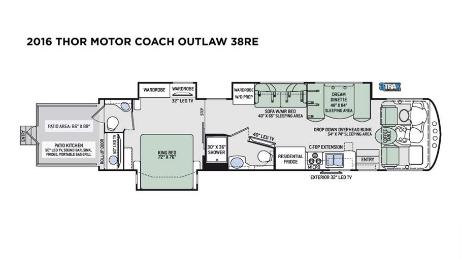 2016 Thor Motor Coach Outlaw 38re For Sale In Tampa Fl